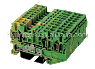 3 conductor yellow-green terminal block AK2.5-TN-PE Dinkle din rail connectors