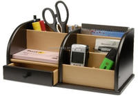 Produce fashion black home table wooden desk organizer