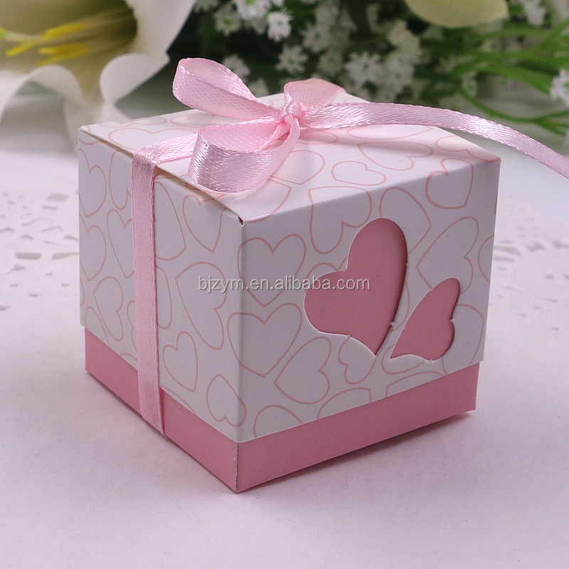 laser cutting sweet heart design pink wedding souvenir square candy box display paper gift packing boxes with free ribbons
