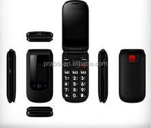 low price dual sim card 3g flip phone for elder with big button, sos calling, fm, mp3