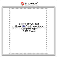 "One Case of 3,500 Sheets 9-1/2"" x 11"" One Part Blank 15# Continuous Computer Paper"