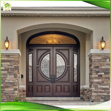 arch mahogany solid wood custom double entry doors with transom