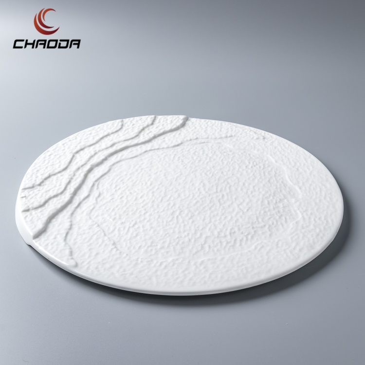 High quality 11-13 inch Stone Grain Plate white ceramic tableware five star hotel dinner flat plate porcelain plates guangzhou
