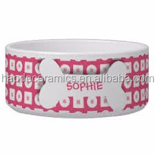 [ ZIBO HAODE CERAMICS]manufacturer supply pink fancy dog bowl pet bowl sets