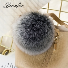 Xcellent Quality Real Pompom Keychains Car Ornaments Pendant Key Ring Pom Dyed Fox Fur Ball For Bag With Letter Keychain