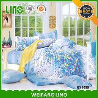 blue style bedding set/bed fabric /beautiful bedroom sofa set