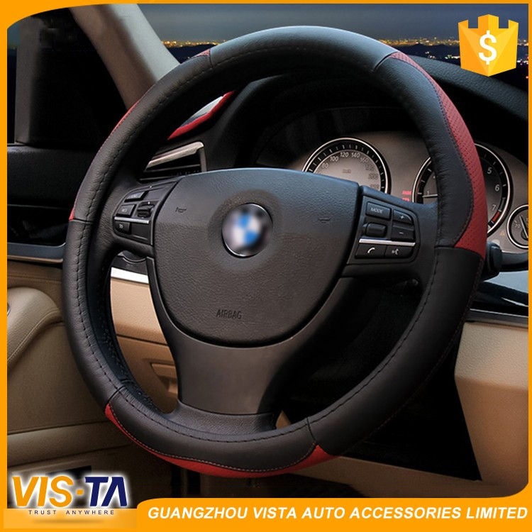 Factory Supply Bus Steering Wheel Cover , Custom Design Heated Genuine Leather Car Steering Wheel Cover