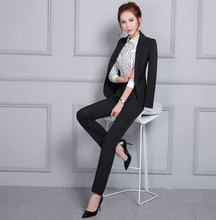 Black and Gray Winter One Button Fashional Office Ladies Coat Pant Suits