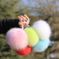 Top quality bigger fox fur ball keychain