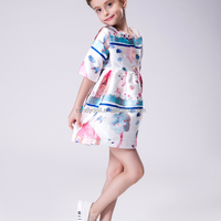 New Design Fashion 2016 Half Sleeves Embroidery Cotton Girl Dress Brand Kids Party Wear Dresses For Girls Dresses