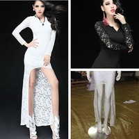 White color women long simple lace dress sexy short front long back wedding dress