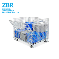 4-Way forklift Access Stackable Steel Metal Stillage Wire Mesh Collapsible Cage