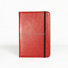 fine quality bright color red leather kid proof tablet ,lastest classic book style flip case , shockproof universal cover