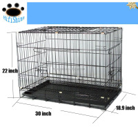 30''*18.9''*22.04'' Pet Kennel Cat Dog Folding Steel Crate Playpen Wire Metal Cage W/Divider DC