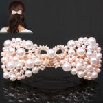 Bow-Knot Style Large Pearl Decorated Hair Clip Hair Ornament for Women Ladies