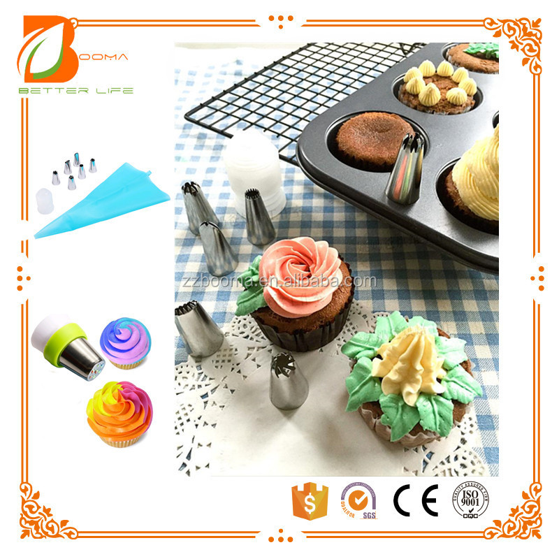 Amazon hot Tulip Tips Stainless Steel Icing Piping Nozzles Pastry Decorating Tips Cake Cupcake Decorator icing dispenser