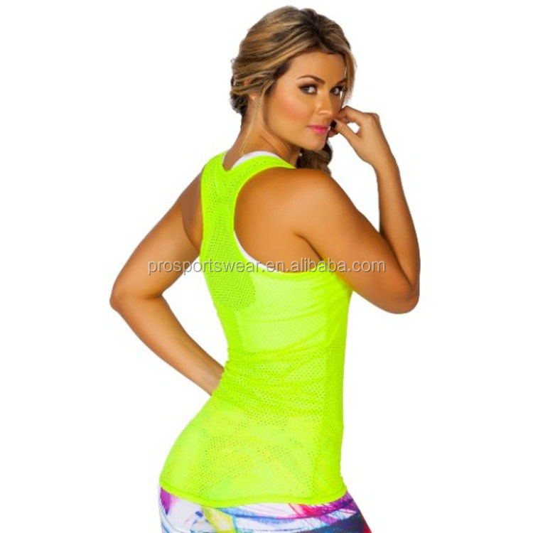 2016 Compression Mesh Yoga Tops Women Running Yoga Vest Workout Yoga Wear
