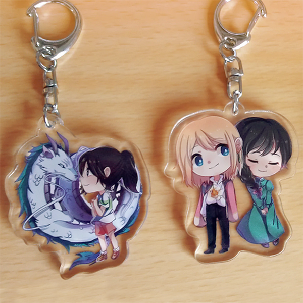Hanging Printed Clear Acrylic Anime Key Chains Perspex Charms
