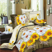 Sunflower bedsheet fabric 3D design, quited fabric, bedcover fabric supplier