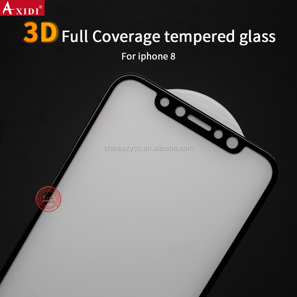 Gold supplier 0.33mm 3D 9H tempered glass for iPhone 8 screen protector