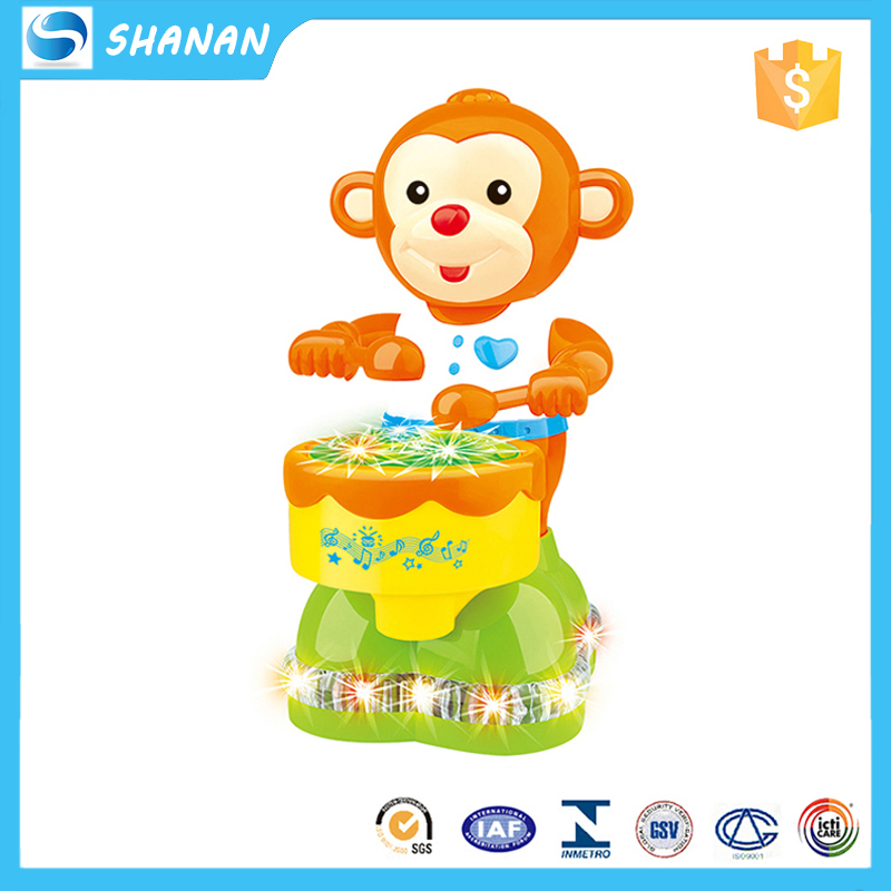 Directional musical monkey plastic electronic toy with 4D light