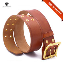 Double Pin Buckles Wide Men Military Leather Belt/Metal Eyelets Mens Leather Belt