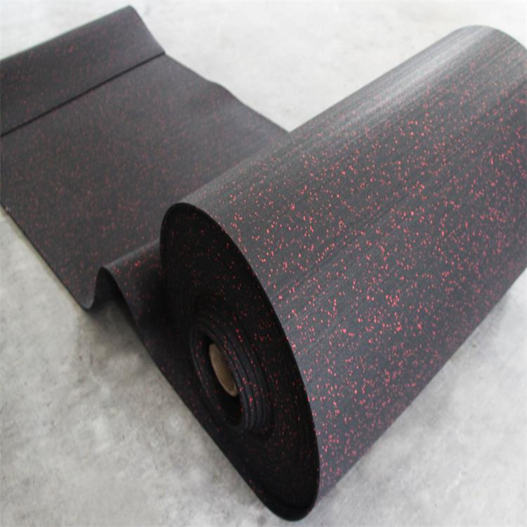 Black crossfit rubber granules roll flooring for gym
