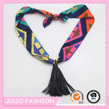 Travel Bohemian ribbon scarf necklace long leather tassel necklace/