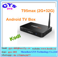 GYS Wholesale Amlogic S905 Android 5.1Marshmallow Smart TV Box T95 Max with Quad Core 2GB/32GB H.265 Smart 4K TV Player