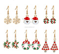 6 Pairs Christmas Drop Dangle Earrings Jewelry Set for Thanksgiving Snowflake Santa Claus Jingle Bell X-Mas Present