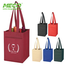 Non-Woven 4 Bottle reusable divided wine tote bag,wine bags