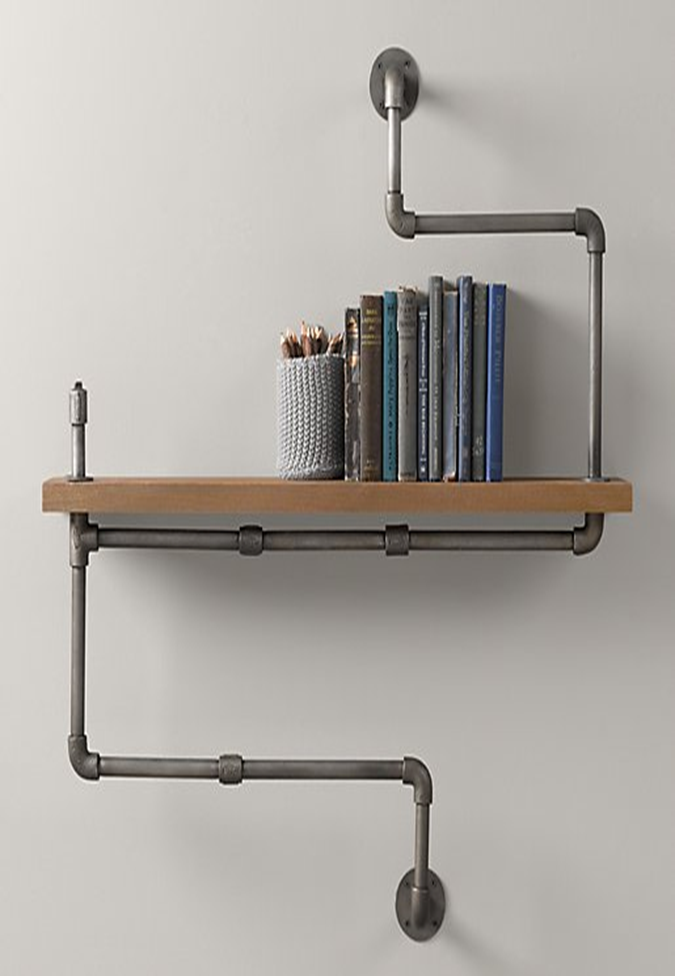 Reclaimed Wood Shelf Industrial Wood and Black Pipe Wall Shelf
