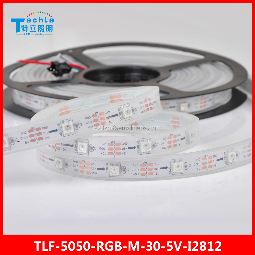 5050 Magic LED STRIP 30 led/m WS2812 programmable IC 5V Flexible lighting Waterproof Silicon Tube wholesales price