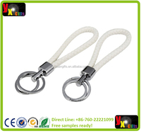 Braided Leather Key Chains Keyring with Strap (White, 2 Pack)