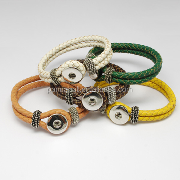 1-Snap Braided Leather Snap on Bracelets(AJEW-<strong>R022</strong>-M)