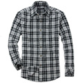 Custom logo stylish man red flannel shirt check brushed cotton shirt