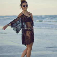 Women Sexy Strap See Through Floral Lace Embroidered Beach Summer Dress