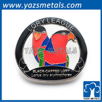 customize embossed pins, custom high quality lory league with soft enamel