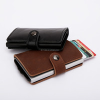 stainless steel push ID aluminium credit card leather wallet , rfid wallet , finshionable wallet