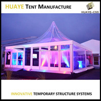 20x20 clear frame tent with custom drapery for wedding
