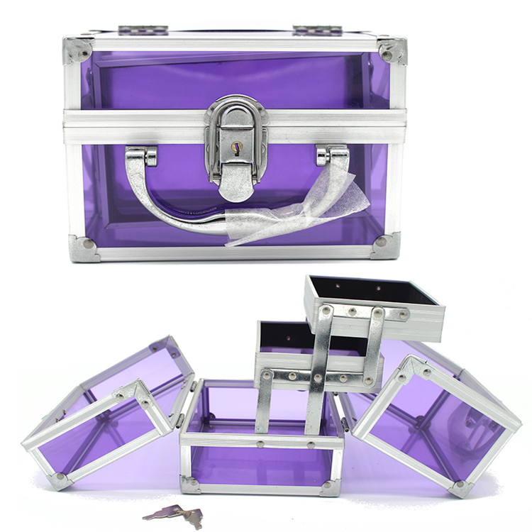 Purple aluminum transparent beauty acrylic train jewelry make up case