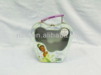 Handbag shaped tin box with clear window for girls
