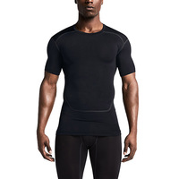 LANBAOSI 2016 Wholesale Factory Price Mens Tight Compression Top Shirt Short Sleeves Sports Gym Bodybuilding Wear