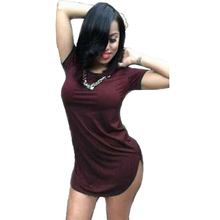 Women Side Slit Tshirt Dress Summer Style 2015 Sexy Bandage Beach Mini Vestidos Plus Size Long Tops Tee Night Club Party Dresses