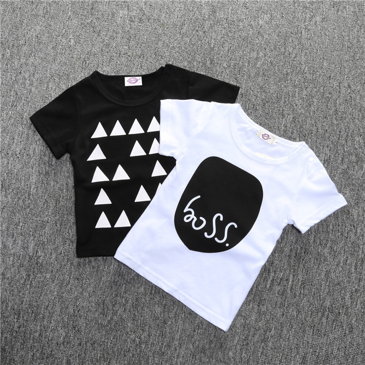 X60441A ins 2017 Children Summer Clothing boy Casual Printed Kids T-shirt