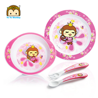 Melamine like bpa free baby tableware toddler dinner set 3PK bowl plate cultery set