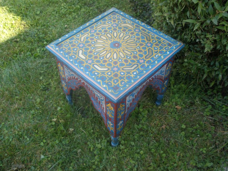 Moroccan Hand Painted Night Stand Side Bed Side Couch Imports