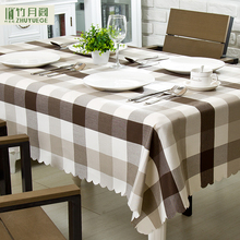 100% Polyester Waterproof Nano Brown Large Lattice Custom Modern Simple Wholesale Print Tablecloth Fabric