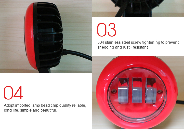 Waterproof 30w 4 inch auto car accessories round tractor headlights red led work light for jeep truck