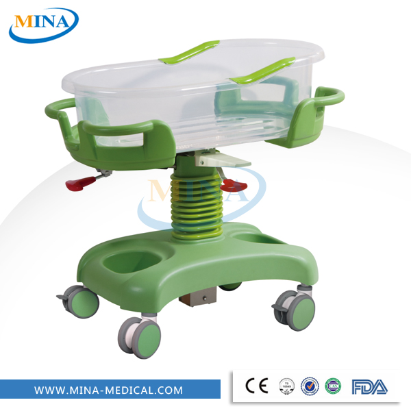MINA-2YC hot sale gas spring hospital acrylic baby crib wheels